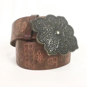 Express Brown Italian Leather Tooled Belt